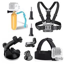 TEKCAM Action Camera Accessory Kits Bundle Head Strap Chest