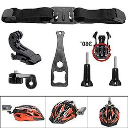 7-in-1 360 Degree Action Camera Vented Helmet Strap Mount Ki