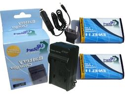 2x Pack - Pentax Optio W80 Battery + Charger with Car & EU A