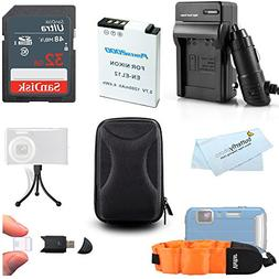32GB Accessories Kit For Nikon COOLPIX AW120, AW110, AW100,