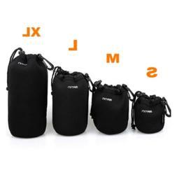 4pcs S+M+L+XL Neoprene Camera DSLR Lens Soft Waterproof Pouc