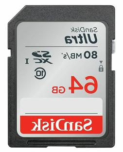 64GB SD Memory Card SDHC Class 10 SanDisk Ultra UHS-I Canon