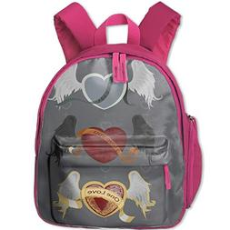 Children's printed backpack 3 Different Hearts School Backpa
