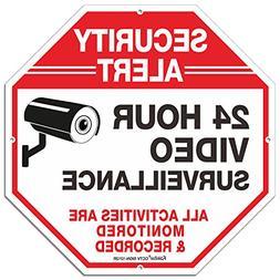 "Outdoor Video Surveillance Sign -12"" X 12"" Octagon Rust Free"