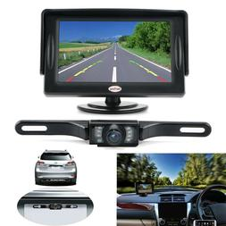 "Universal Backup Camera System w/ LCD Monitor 4.3"" Car Wired"