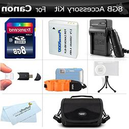 8GB Accessory Kit For Canon PowerShot D10 D20 D30 Waterproof