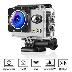 Eleshroom 4K HD Action Camera, Waterproof Sport Camera 170°