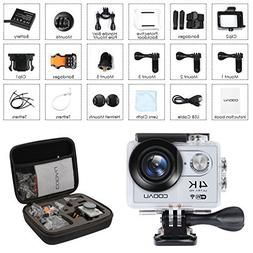 COOAU 4K Action Camera Cam Underwater 30M Waterproof, Sport