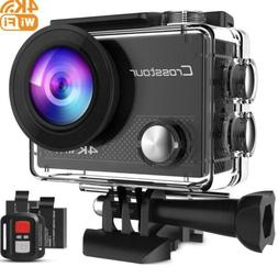 Crosstour Action Camera 4K 16MP WiFi Underwater 30M with Rem