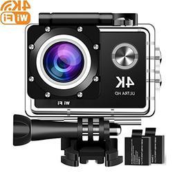 4K Action Camera, 16MP WiFi Ultra HD Underwater Waterproof 3