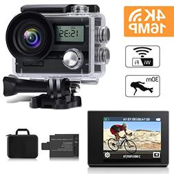 Action Camera, MOSPRO 4K 16MP Dual Screen WiFi Waterproof Sp