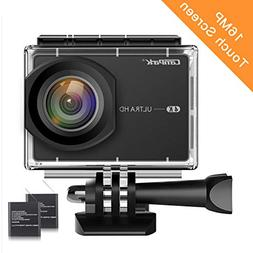 """Campark Action Camera 4K 2.26"""" LCD Touchscreen 16MP WiFi Wat"""