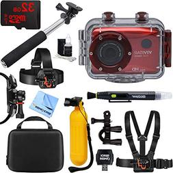 action waterproof camcorder red