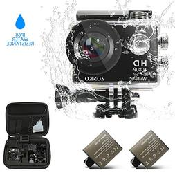 "ZONKO Action Camera 1080P Full HD Wi-Fi 2"" LCD Sports Camera"