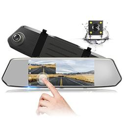 "TOGUARD Backup Camera 7"" Mirror Dash Cam Touch Screen 1080P"