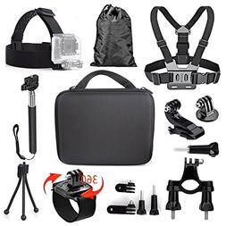 TEKCAM 11-in-1 Action Camera Accessories Bundle Kits Compati