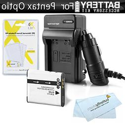 Battery And Charger Kit For Pentax Optio WG-1, WG-2, WG-3, W