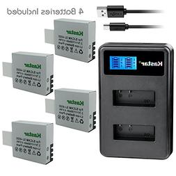 Kastar Battery 4 Pack and LCD Dual Charger for Qumox BAT-412