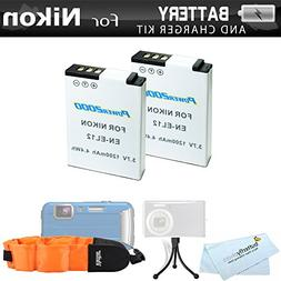 2 Pack Battery Kit For Nikon COOLPIX W300, AW130, AW120, AW1
