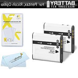 2 Pack Battery Kit For Pentax Optio WG-2, WG-3, WG-3 GPS, Ri