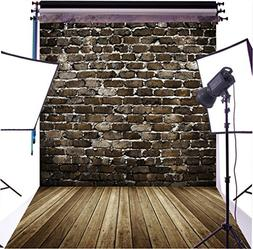 DULUDA 5X7FT Black Brick Wall Wooden Floor Pictorial cloth C
