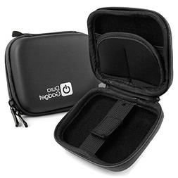 DURAGADGET Black Hard EVA Shell Case with Carabiner Clip & T