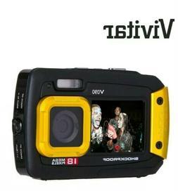 Vivitar Black Yellow 18 Mega Pixel Selfie Dual Screen Waterp