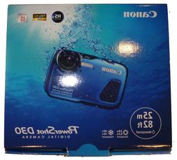 Brand New Canon PowerShot D30 Blue 12.1MP Waterproof to 82ft