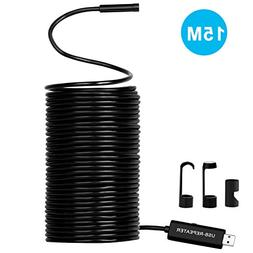 50FT Cable HD USB Endoscope Upgraded Semi-Rigid Borescope Sn