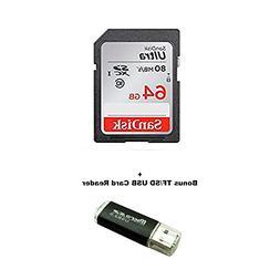 64GB Canon EOS Rebel T5 Memory Card SanDisk SD Ultra SD Memo