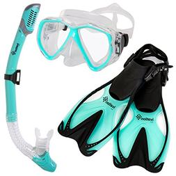 Ivation Diving Gear - Snorkel Mask & Fins Set – Includes D