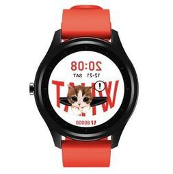 DT55 Smartwatch Black Case Red Strap Waterproof Fitness Trac