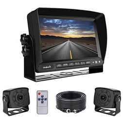 Dual Backup Cameras and Monitor Kit Wired for Van, RV, Semi