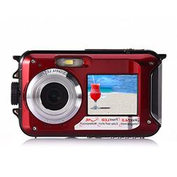 Dual-screen Underwater Digital Camera,KINGEAR 24 MP Front an