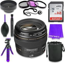 Canon EF 85mm f/1.8 USM Lens for Canon DSLR Cameras & SanDis