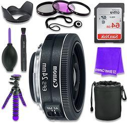 Canon EF-S 24mm f/2.8 STM Lens for Canon DSLR Cameras & SanD