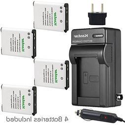 Kastar Battery 4x + Charger for Nikon EN-EL19 Coolpix S32 S1