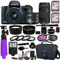Canon EOS M50 Mirrorless Digital Camera  Bundle w/Canon EF-M