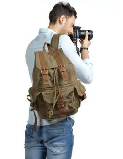 Fashion Canvas DSLR Camera Backpack Waterproof Case Bag for