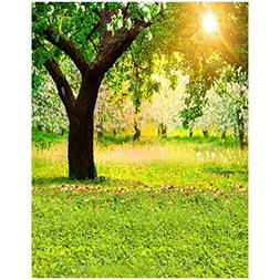 SODIAL 3x5ft Green Trees Forest Field Garden Nature Scenery