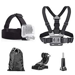 TEKCAM Action Camera Head Strap Chest Harness Belt Mount wit