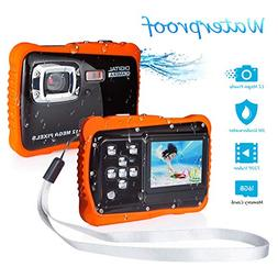 Underwater Camera for Kids, FLAGPOWER 12MP HD Waterproof Dig