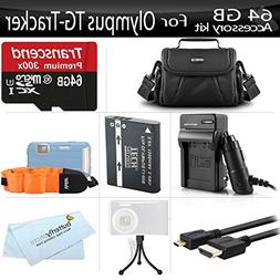 64GB Accessories Kit For Olympus Stylus Tough TG-Tracker Act