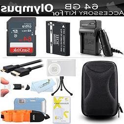64GB Accessories Kit For Olympus TOUGH TG-5, TG-3, TG-4 Wate