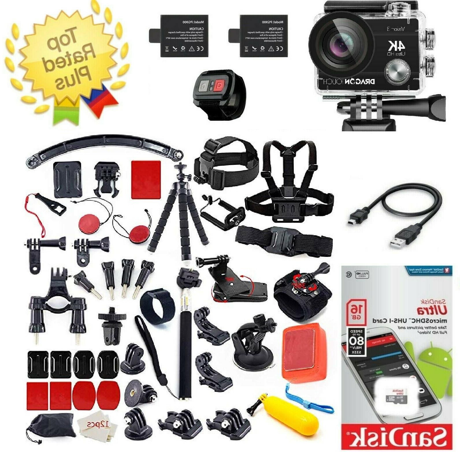 4k waterproof action camera 16mp accessory kit