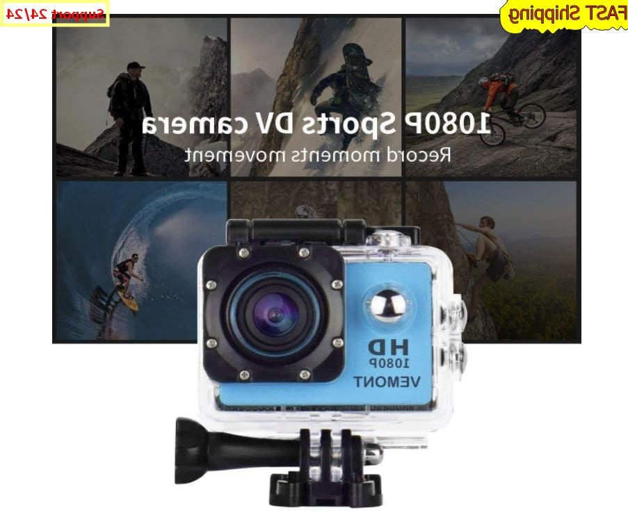 5 Action Hero Full 1080P Waterproof Camera 12MP 170 Degree Blue