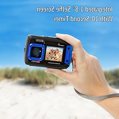 Ivation 20MP Underwater Shockproof Digital Camera Video Camera Submersible Up to Feet
