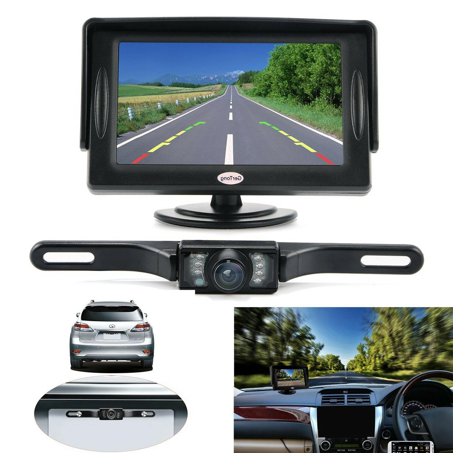 """Universal Backup Camera System w/ LCD Monitor 4.3"""" Car Wired"""