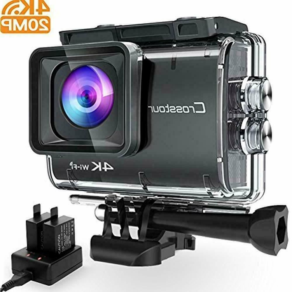 Crosstour Action Camera Ultra HD 4K 20MP WiFi Underwater Cam