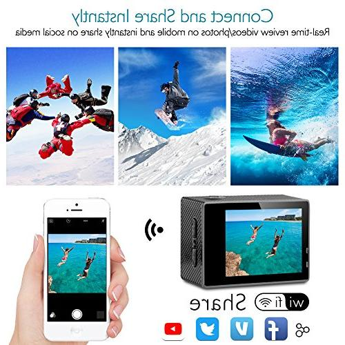Dragon 4K Action Camera 16MP Underwater Waterproof Camera 170° Wide Cam with Batteries Mounting Kit